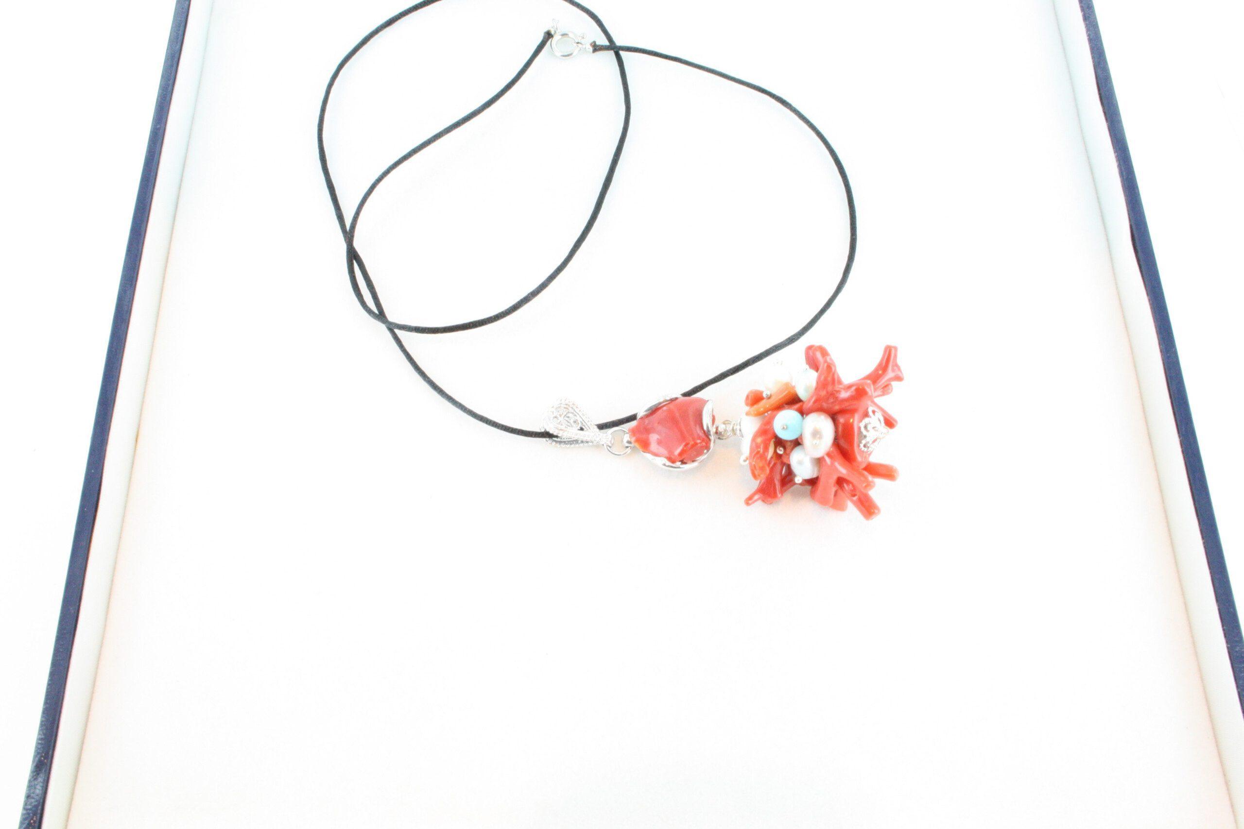 Collier en corail rouge et argent CO-CO-AR-052