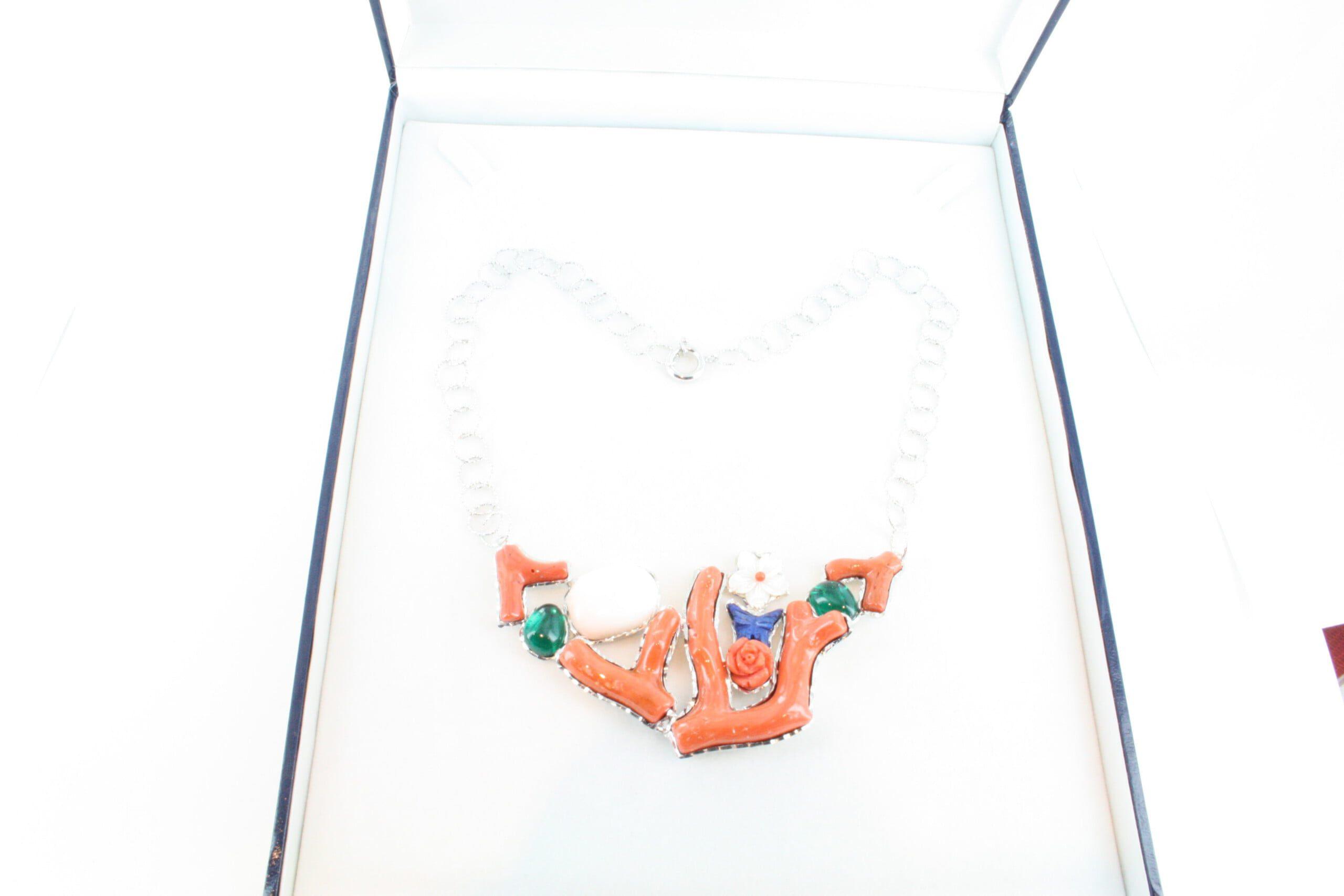 Collier en corail rouge et argent CO-CO-AR-063