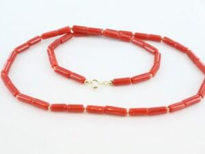 Collier en corail rouge de premier et or CO-CO-OR-015