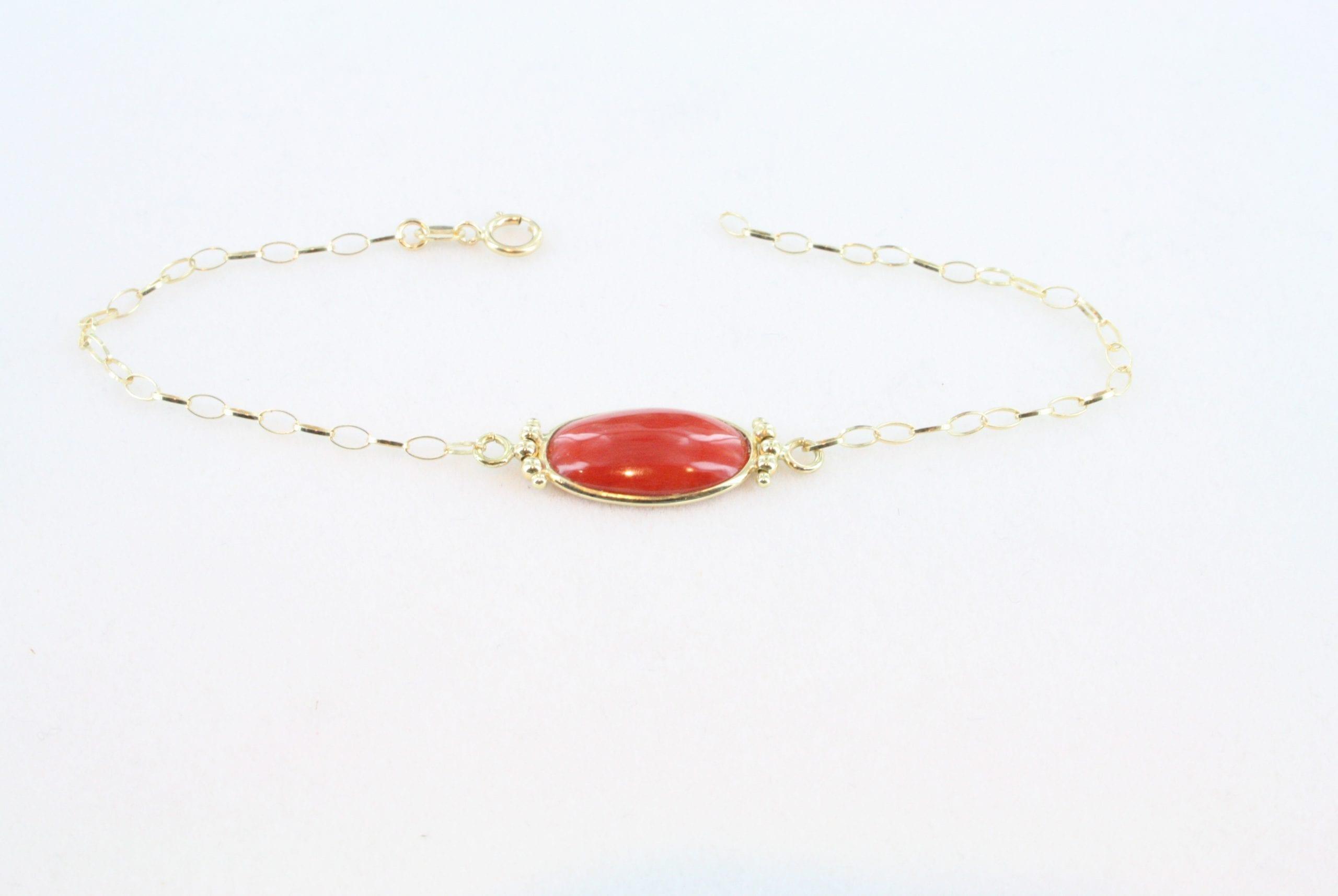 Collier en corail rouge de premier et or CO-CO-OR-021
