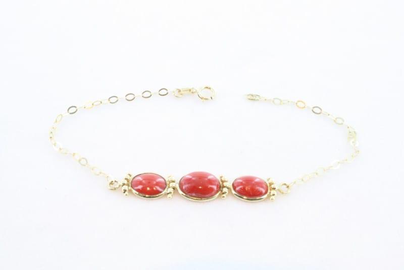 Collier en corail rouge de premier et or CO-CO-OR-023