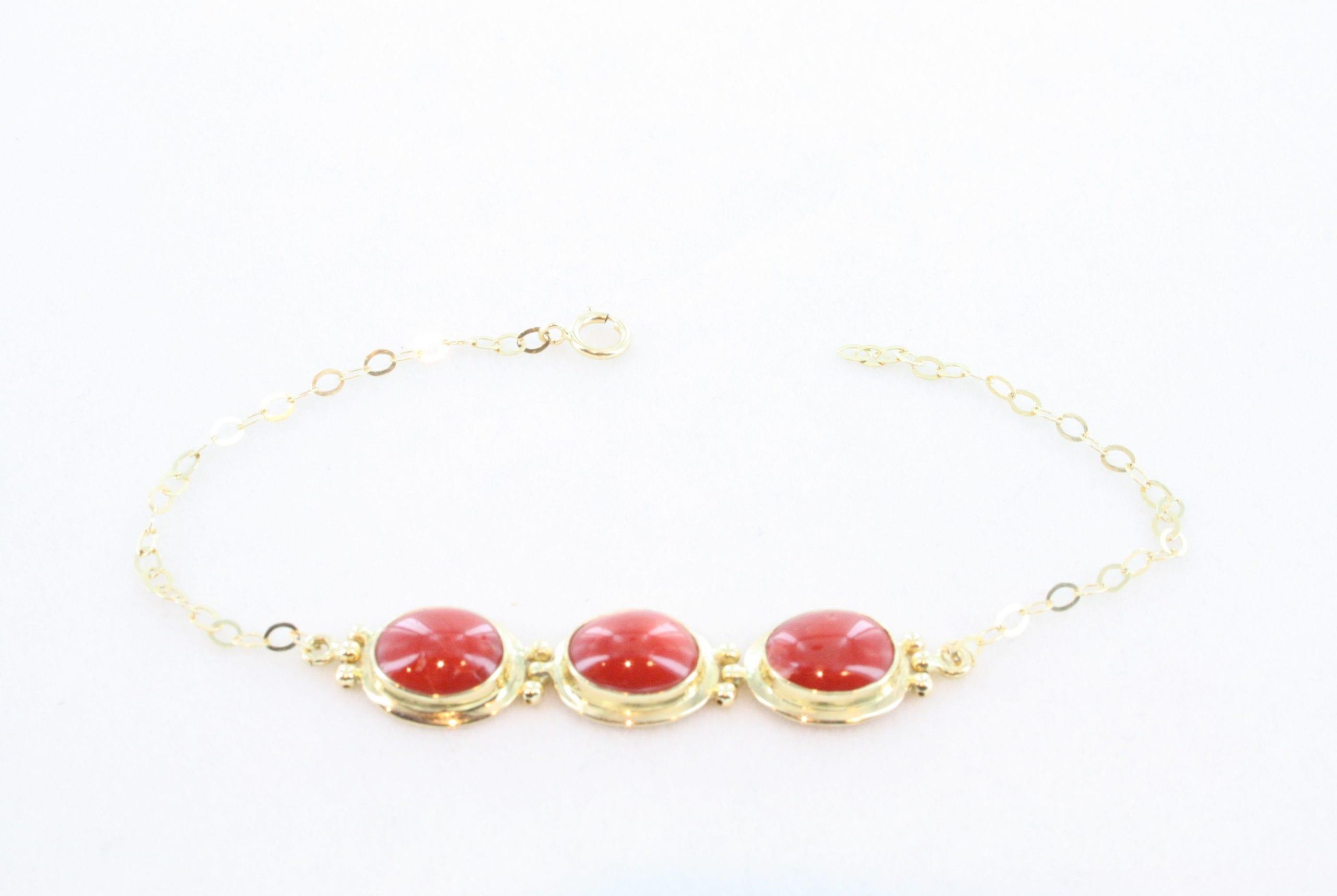 Collier en corail rouge de premier et or CO-CO-OR-025