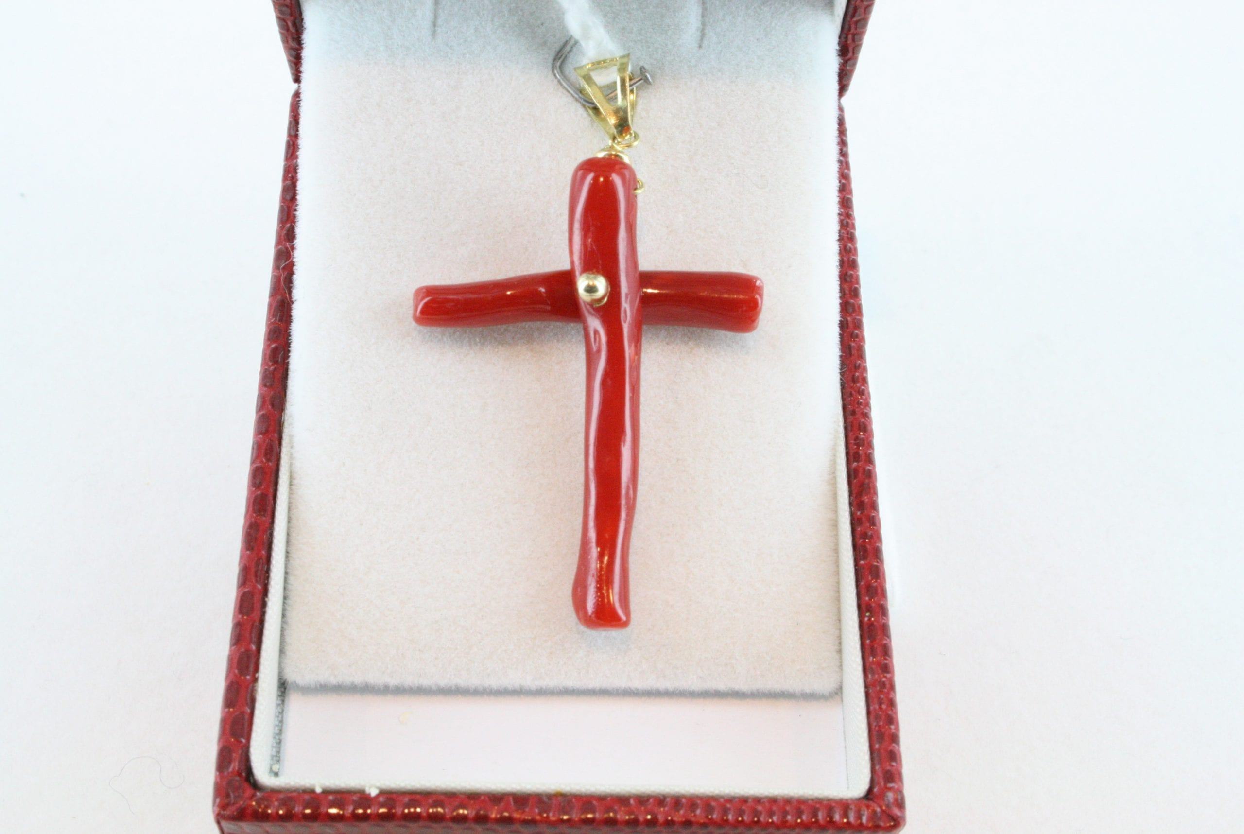 pendentif corail rouge et or PE-CO-OR-045