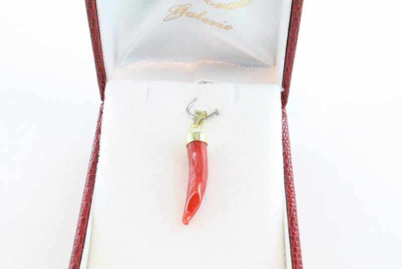 pendentif corail rouge et or PE-CO-OR-069