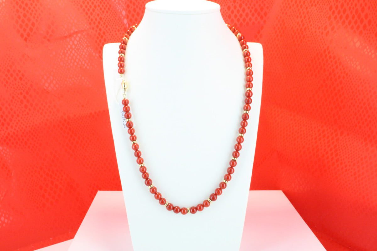COLLECTION LECA COLLIERS EN CORAIL ROUGE ET OR CO-CO-OR-020