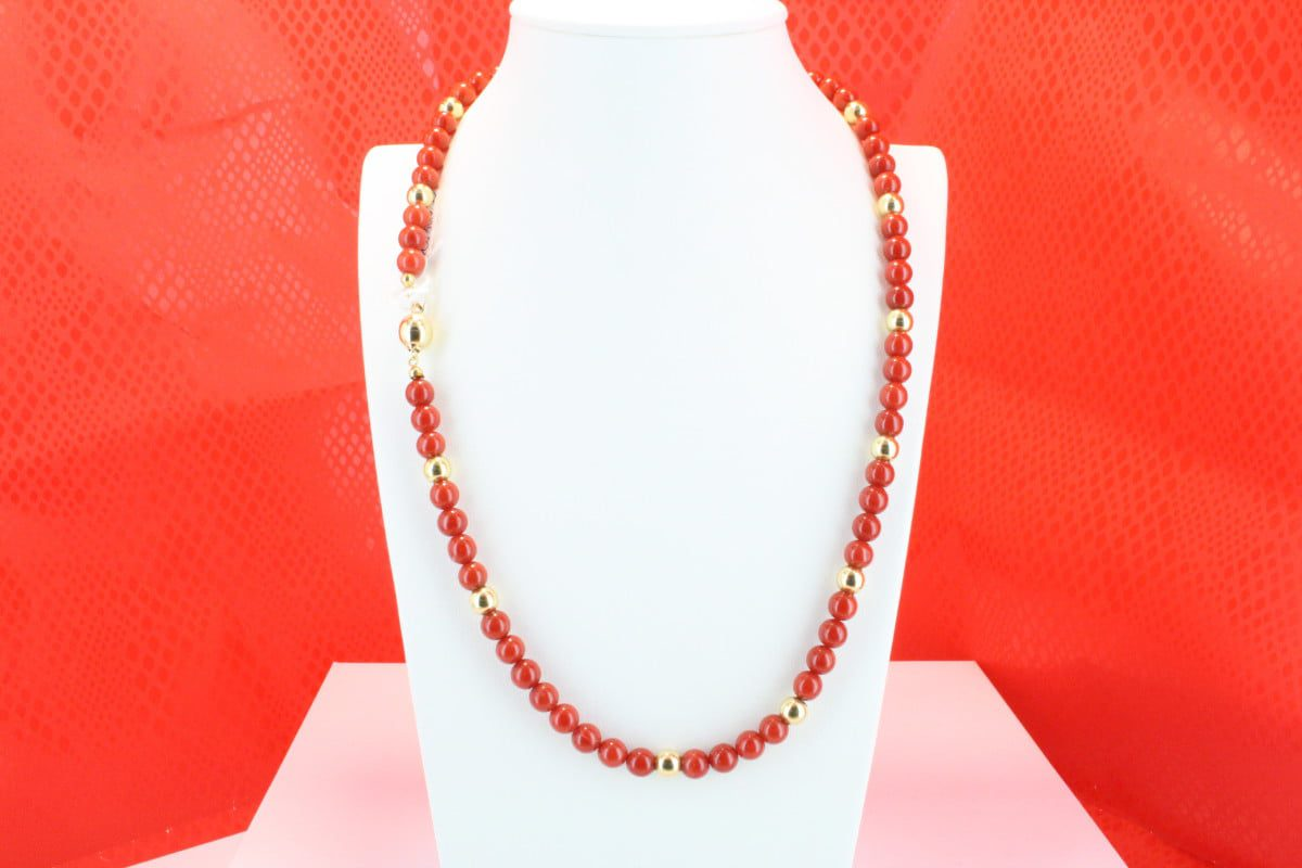 COLLECTION LECA COLLIERS EN CORAIL ROUGE ET OR CO-CO-OR-022
