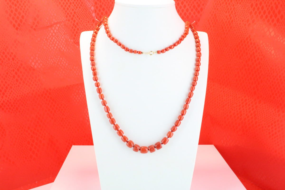 COLLECTION LECA COLLIERS EN CORAIL ROUGE ET OR CO-CO-OR-023