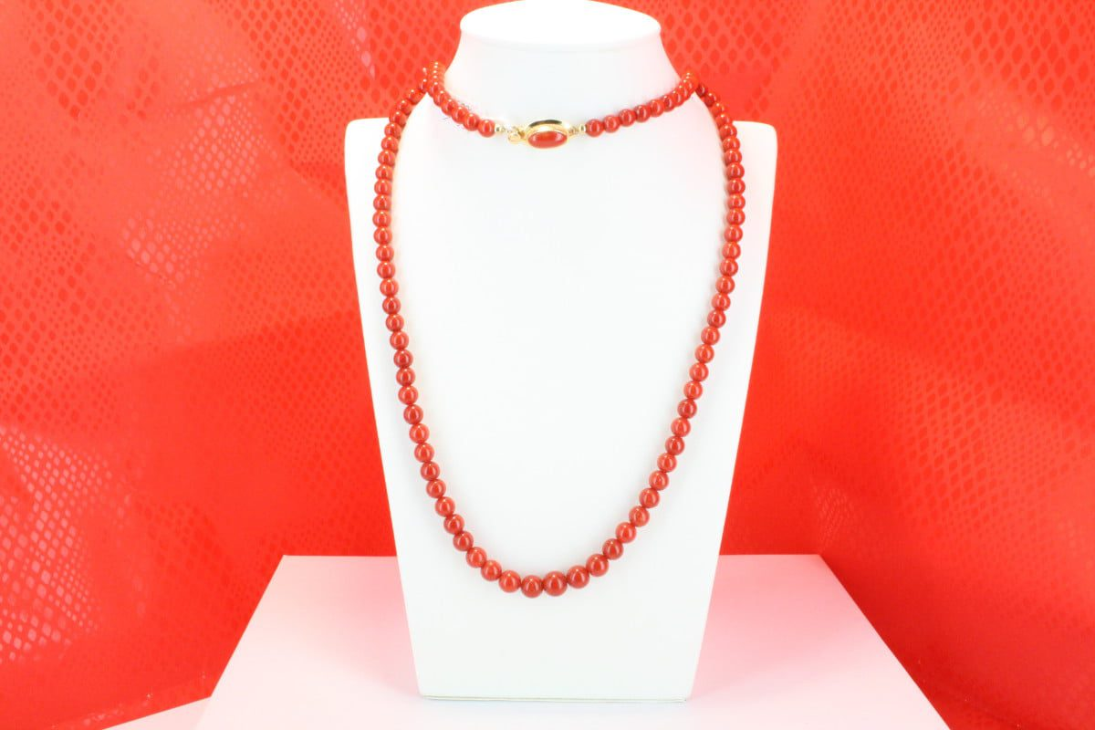 COLLECTION LECA COLLIERS EN CORAIL ROUGE ET OR CO-CO-OR-025