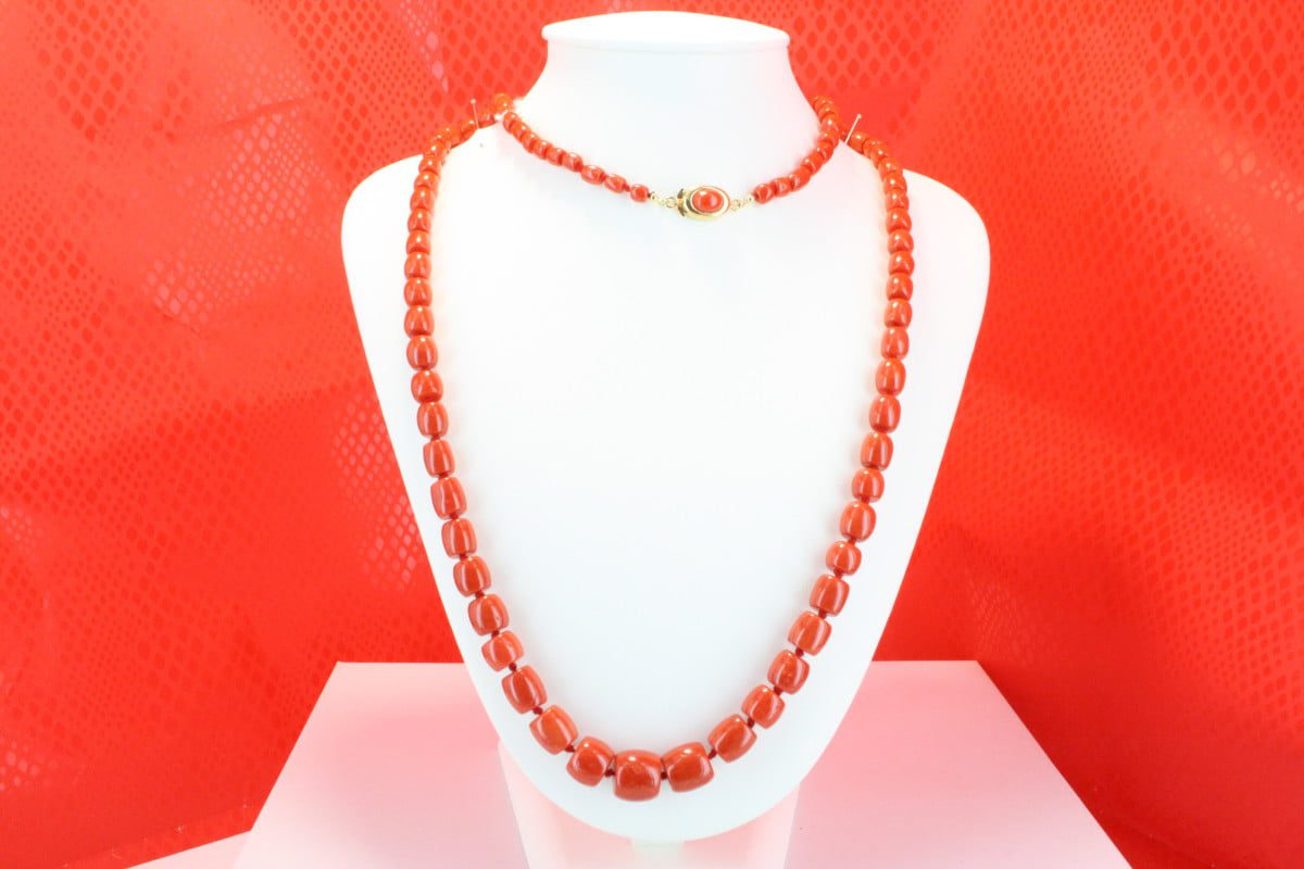 COLLECTION LECA COLLIERS EN CORAIL ROUGE ET OR CO-CO-OR-026