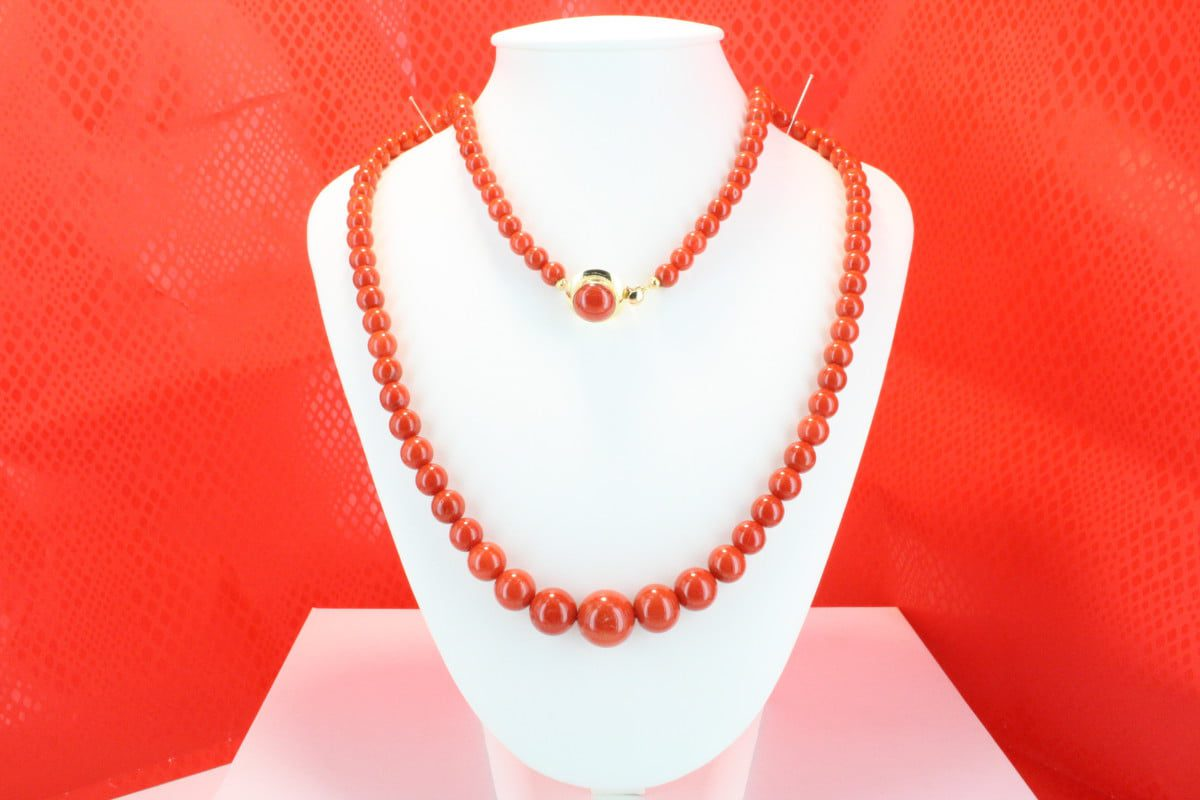 COLLECTION LECA COLLIERS EN CORAIL ROUGE ET OR CO-CO-OR-027
