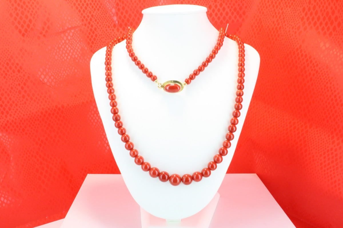 COLLECTION LECA COLLIERS EN CORAIL ROUGE ET OR CO-CO-OR-028
