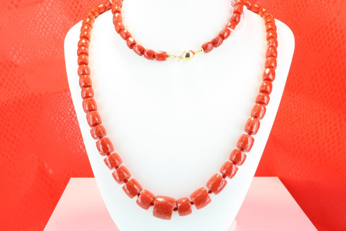 COLLECTION LECA COLLIERS EN CORAIL ROUGE ET OR CO-CO-OR-030