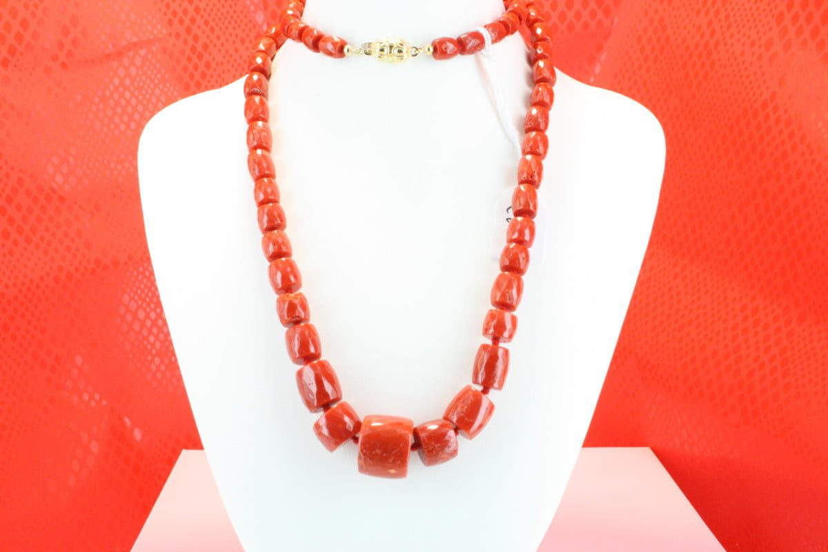 COLLECTION LECA COLLIERS EN CORAIL ROUGE ET OR CO-CO-OR-031