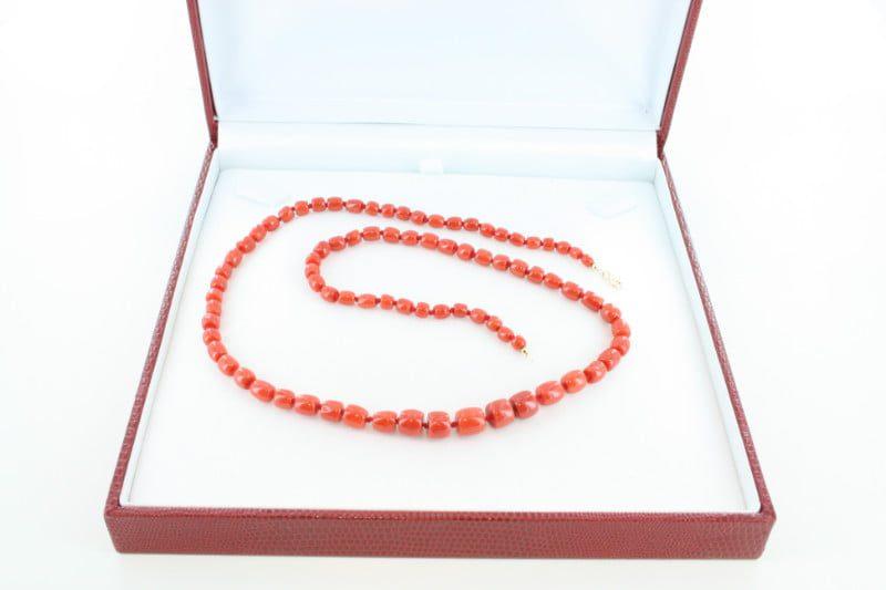 Collier en corail rouge de premier et or CO-CO-OR-027
