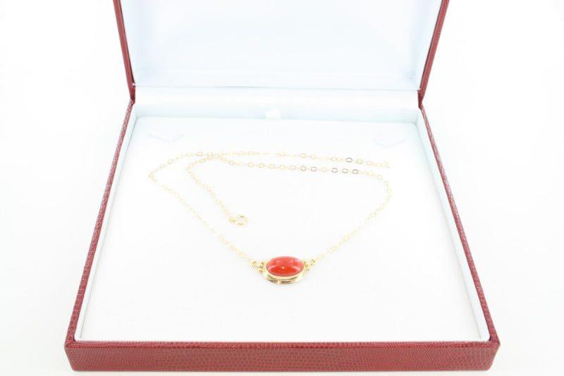 Collier en corail rouge de premier et or CO-CO-OR-028